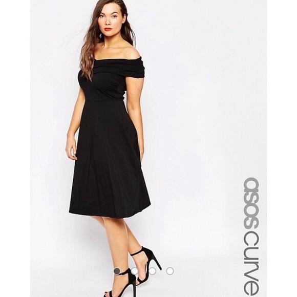 2d860985acb ASOS Curve Dresses   Skirts - ASOS Curve Black Off Shoulder Skater Dress